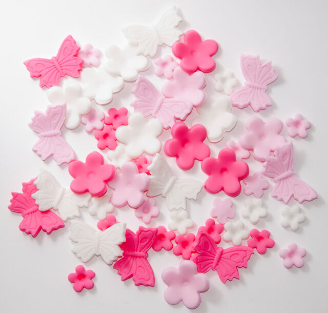 """ PINK ""Butterfly and Flowers  Cake/Cupcake Toppers  Birthday Wedding 54pcs"