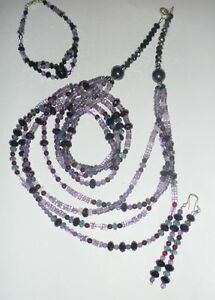 Amethyst and Rose Quartz Necklace and Earring Set