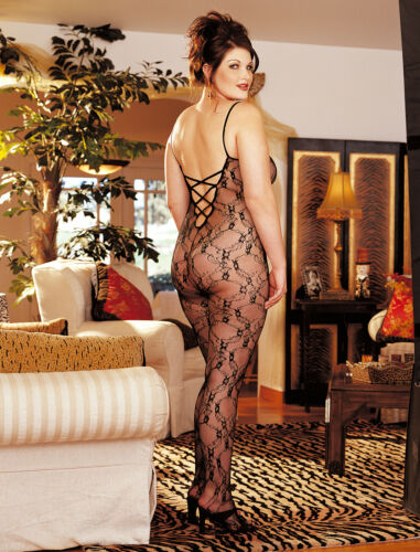Black Lace Bodystocking Criss-Cross Back Open Crotch Queen Size Shirley X96621