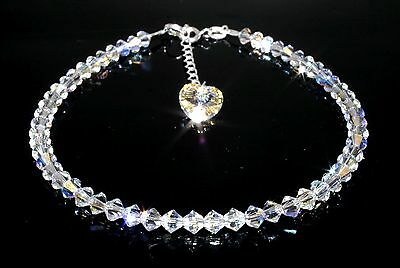 Sparkly Crystal AB Heart Charm Bracelet made with SWAROVSKI ELEMENTS GiftWrapped