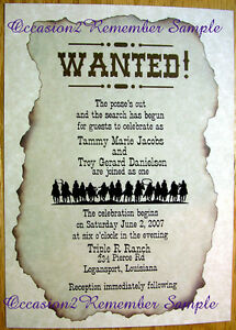 50 WESTERN WANTED POSTER INVITATIONS MANY DESIGNS CUSTOMIZED PERSONALIZED 4 YOU