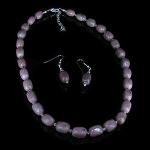 .925 Sterling Silver Natural Pink Rhodonite Necklace Earrings SET