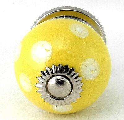 Yellow Ceramic Knobs Retro Cabinet Drawer Pulls Children Polka Dot Handle #YPC