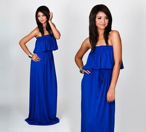 NEW-Womens-Bridesmaid-Cobalt-Blue-Strapless-Cocktail-Evening-Maxi-Dress-S-M-L