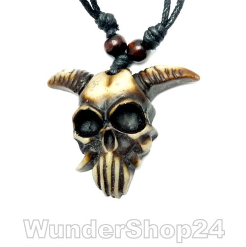 Amulett Afrika Skulptur 3D HALSKETTE SELTEN Skull Totenkopf Kreuz Tiger Zahn NEU