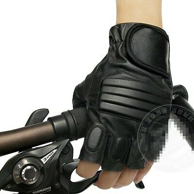 Military Protective Gear Mens Black Velcro Motorcycle Fingerless Driving Gloves