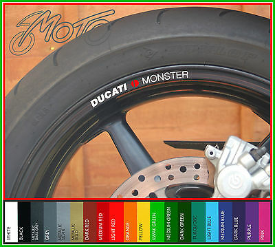 8 x DUCATI MONSTER Wheel Rim Decals Stickers - 1100 796 696 s4r 600 900 750 ss