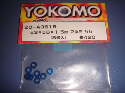 Yokomo 3×6×1.5mm Aluminum Spacer//Blue 8pcs ZC-A3615