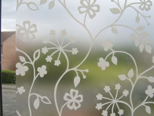 FLOWER WHITE FROSTED GLASS EFFECT STATIC CLING SELF ADHESIVE VINYL FILM 1.5m