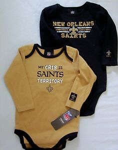 New Orleans Saints Baby Infant Creeper Bodysuit 2 Pack 0
