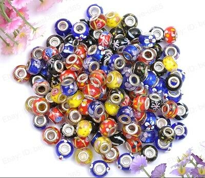 10pcs Mixed MURANO LAMPWORK Glass & SILVER Buckle European Charms Beads BE1598