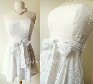 NEW-Forever-21-White-Embroidered-Eyelet-Lace-Strapless-Mini-Summer-Cotton-Dress