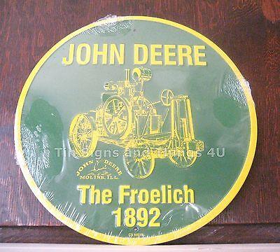 1892 Froelich John Deere Aluminum Round Sign vintage tractor metal wall art