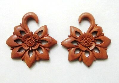 Pair Organic Sawo Wood Tribal Floral Spirals Ear Expander Flower Plugs Gauges