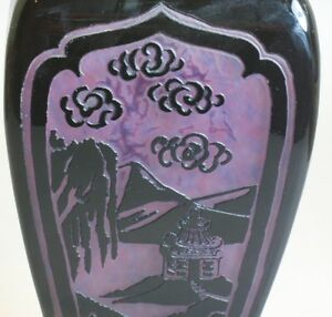 Spectacular-amp-Rare-Steuben-Plum-Jade-Art-Glass-Lamp-c-1920-Chinese-Pagoda-vase