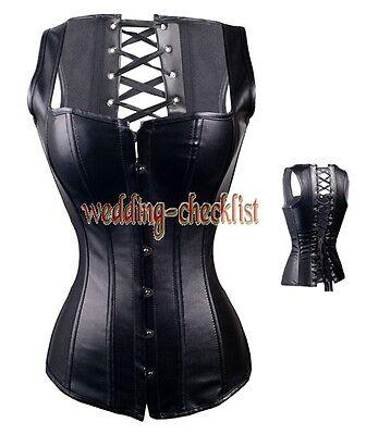 Clubwear BLK Boned Faux Leather CORSET S-2XL GOTHIC Bustier Vest Style g2628_k