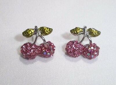 Scrumptious Cherry Crystal Children Earring -Comes in Pink, Silver and Burgundy