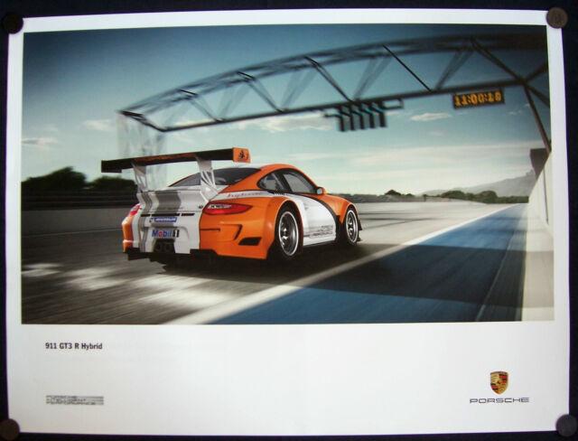 PORSCHE 911 GT3 R HYBRID RACECAR REAR VIEW AT RACETRACK SHOWROOM POSTER 2010