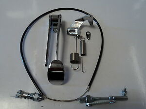 CHROME-SPOON-GAS-PEDAL-BLACK-THROTTLE-CABLE-BRACKET-SPRING-COMBO-DEAL