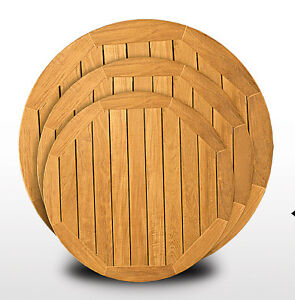 teak wood tops round outdoor all weather table tops 24 round ebay. Black Bedroom Furniture Sets. Home Design Ideas
