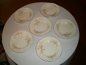 1950s-CROWN-POTTERIES-7-1-2-PLATES-SET-OF-5-ROSE-PATTERN-MADE-IN-USA