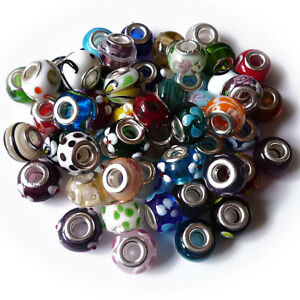 LOT-50-Pieces-Mix-Assorted-European-Silver-Murano-Lampwork-Glass-Beads-Charms-18