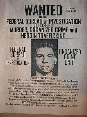 """(107) GANGSTER LUCKY LUCIANO NEW YORK MOBSTER WANTED DEPRESSION POSTER 11""""x14"""""""
