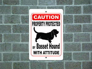 Property-protected-by-Basset-Hound-dog-with-attitude-metal-sign-A
