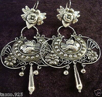 TAXCO MEXICAN STERLING SILVER FRIDA KAHLO DESIGN DECO EARRINGS MEXICO