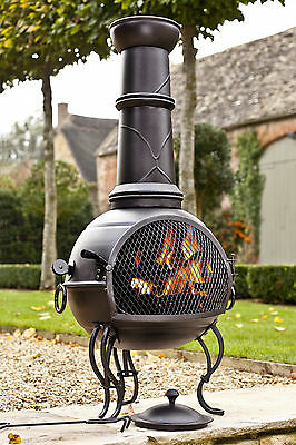 LA HACIENDA BLACK STEEL 107CM CHIMINEA CHIMENEA HEATER AND GRILL