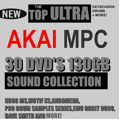 30 DVD'S 130 GB AKAI MPC 2000 XL 4000 3000 60 STUDIO RENAISSANCE TOP SAMPLES