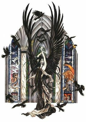 Nene Thomas Print 5x7 Lithograph Fairy Faery of Ravens Crow Black Birds Feather