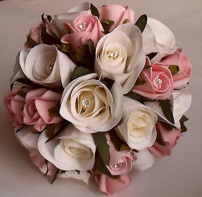 Brides Crystal Diamante Artificial Wedding Ivory Rose Pink Flower Bouquet