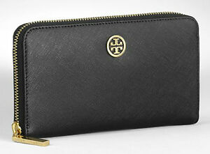 NWT-034-TORY-BURCH-034-robinson-SMALL-LOGO-ZIP-CONTINENTAL-WALLET-BLK-IN-BOX-NEW-w-TAGS