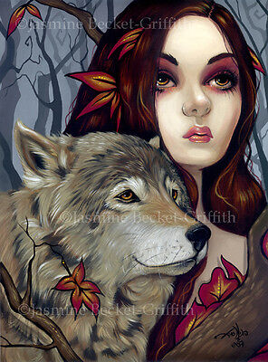 Jasmine Becket-Griffith art print SIGNED Autumn Wolf Maiden werewolf leaves fall