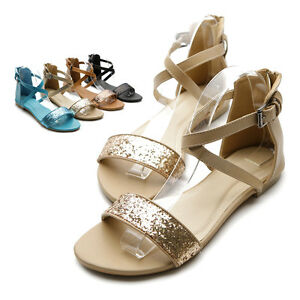 NEW-Womens-Glitter-Cross-Strap-Gladiator-Strappy-Flats-Sandal-Multi-Colored