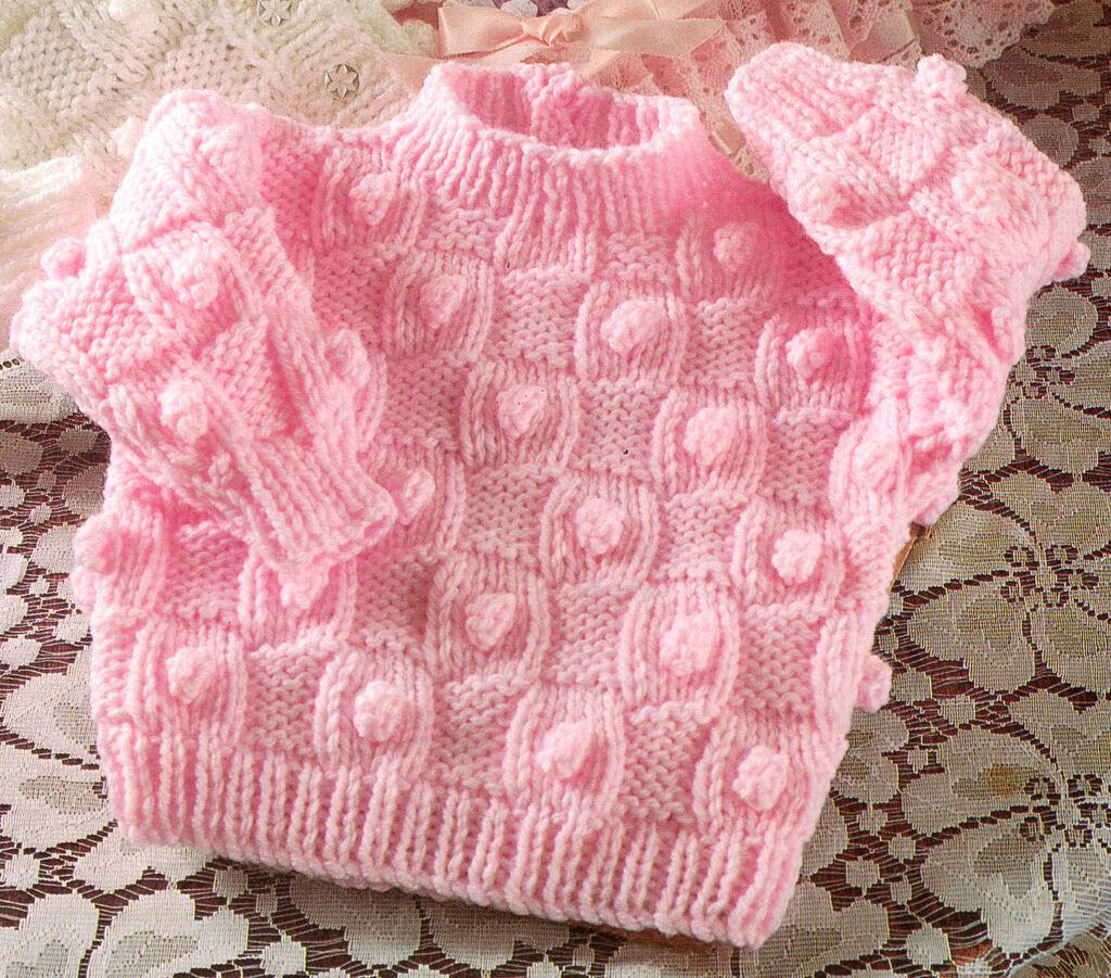 Aran Basketweave & Bobble Baby Cardigans & Sweater 16 ...