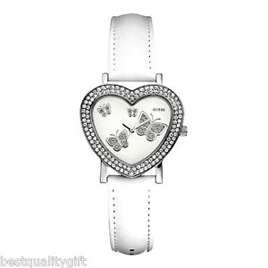new guess white leather band shape butterfly