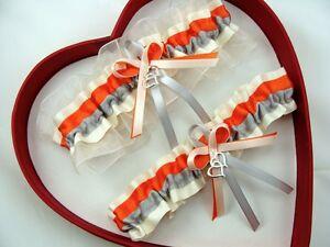 Image Is Loading NEW Orange Silver Ivory Wedding Garter Select Single