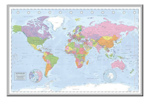 Political World Map Poster Miller Projection Silver Framed Ready To Hang Frame