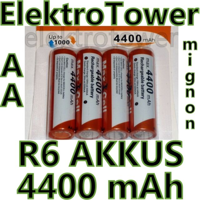 20 x AA Akku Batterien Mignon 1,2V R6 Accu max. 4400 mAh wiederaufladbar Ni-MH