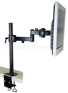 Vertical-Black-Cantilever-Double-Arm-TFT-Monitor-LCD-Desk-Mount-with-Clamp