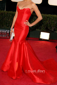 Hot-Red-Celebrity-Designer-Mermaid-Satin-Strapless-Prom-Gown-Evening-Dress