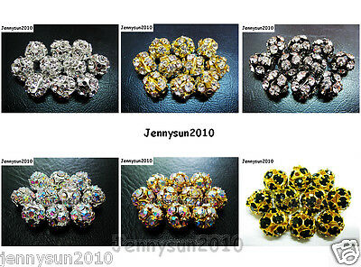 10pcs Crystal Rhinestones Pave Round Ball Spacer Beads Pick your Color and Sizes
