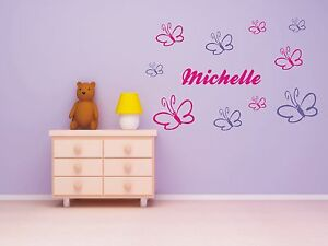 wandtattoo schmetterling name wunschname kinderzimmer ebay. Black Bedroom Furniture Sets. Home Design Ideas