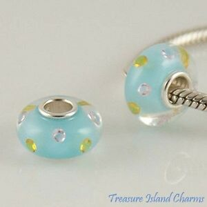 LIGHT-BLUE-w-CZ-CRYSTALS-MURANO-GLASS-925-Sterling-Silver-EUROPEAN-Bead-Charm