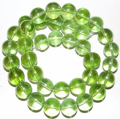 G2897f Lime Green AB 12mm Smooth Round Clear Glass Beads 16""