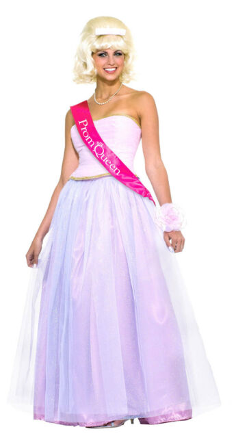 Prom Queen Pink Ball Gown 1950s Retro Sock Hop Dress Up Halloween Adult Costume