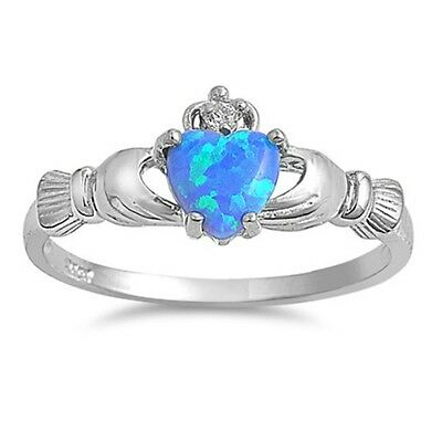 Sterling Silver Claddagh ring size 12 CZ  Heart Crown Irish Blue Opal New r57