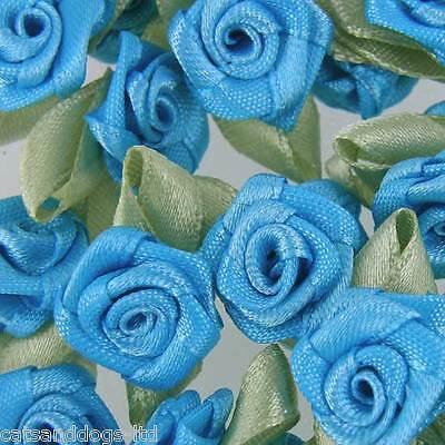 25 x ROSE BUDS SATIN RIBBON FLOWERS ROSEBUDS WEDDING CARD MAKING SCRAPBOOKING